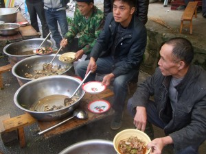 A shared meal at a market town after Qing Ming